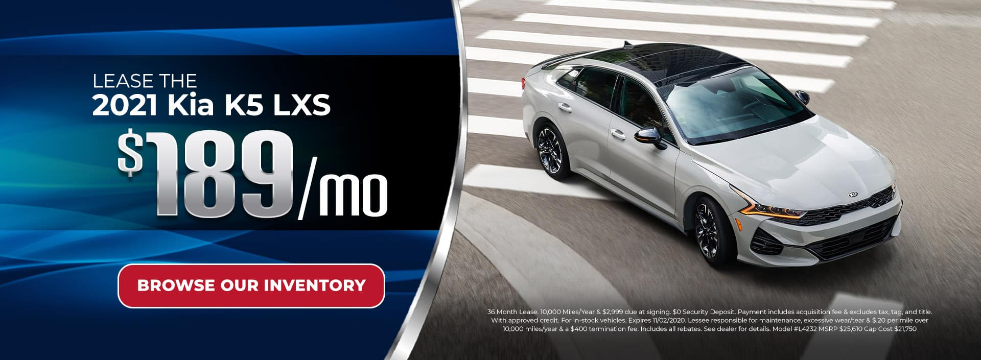 Lease 2021 Kia K5 for $189/mo