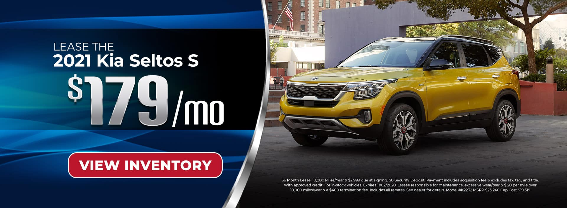 Lease 2021 Kia Seltos for $179/mo
