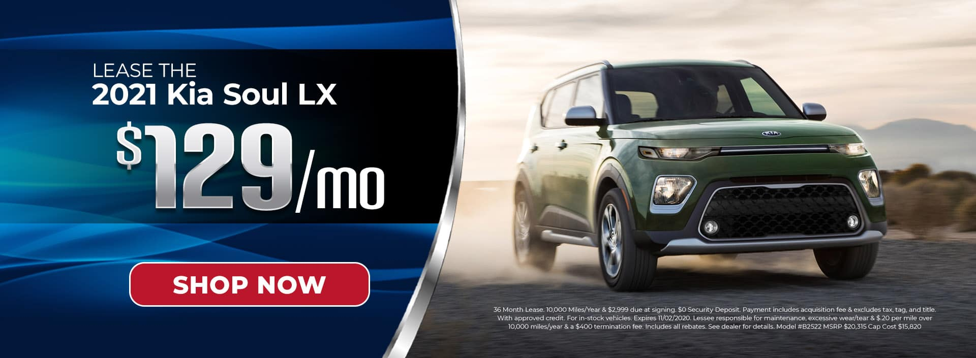 Lease 2021 Kia Soul for $129/mo