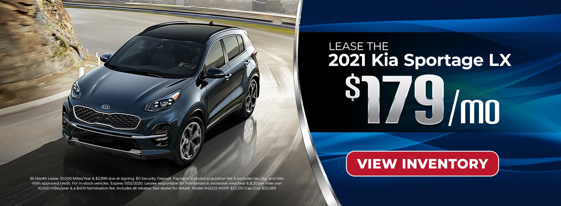 Lease 2021 Kia Sportage for $179/mo