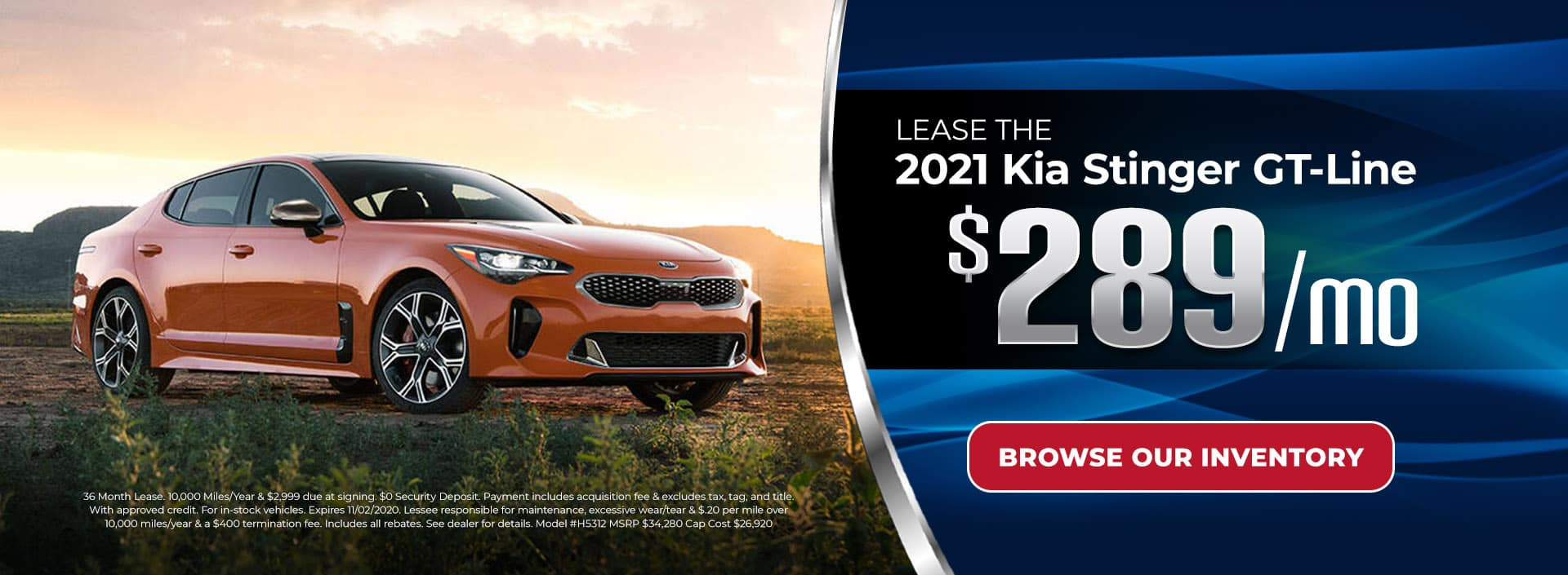 :ease 2021 Kia Stinger GT-Line for $289/mo