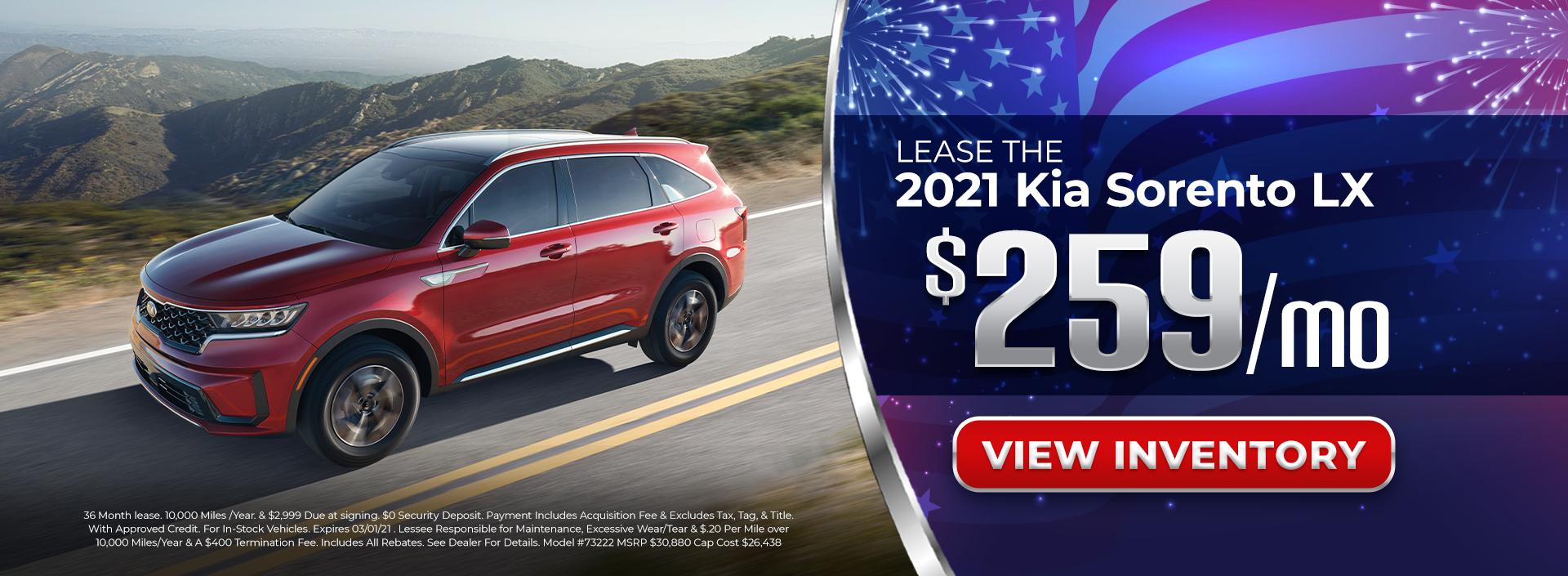 Lease 2021 Kia Sorento for $259/mo