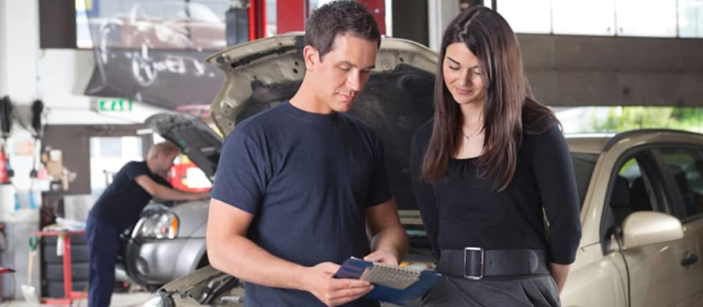 trained technician with customer
