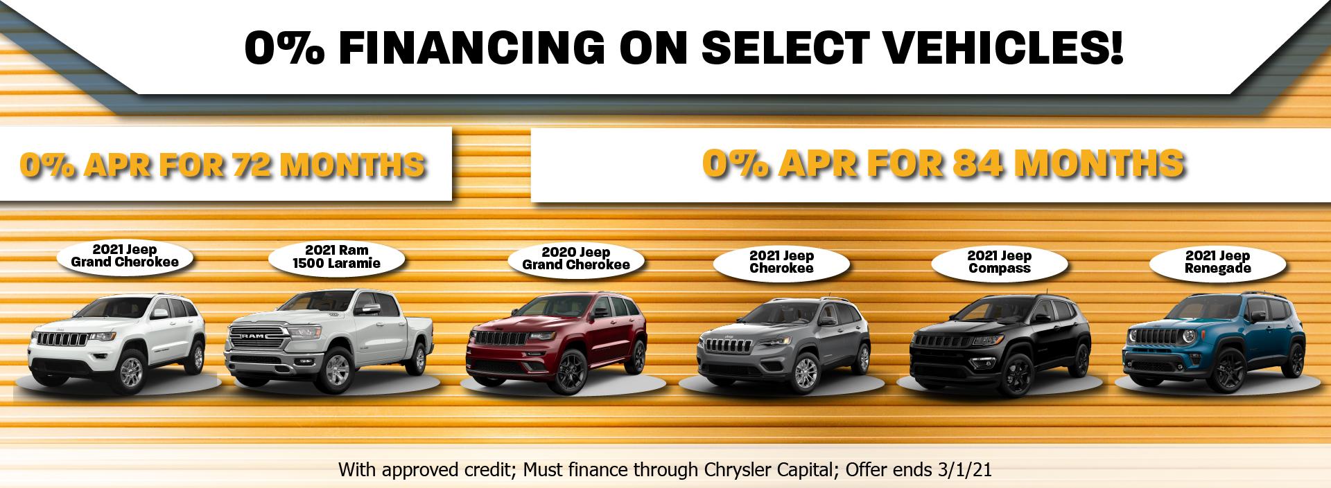 0 percent on select vehicles February