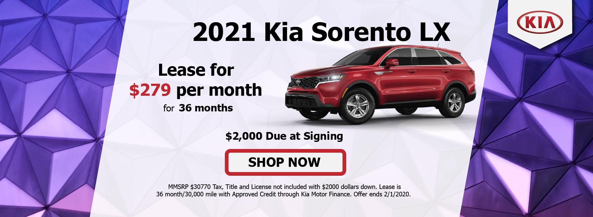 2021 Kia Sorento January
