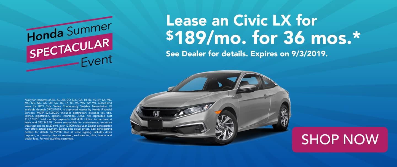 honda civic lease deal $189/month