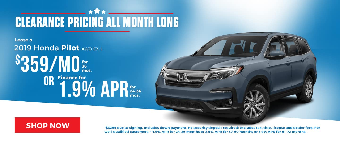 Clearance Event Brings Huge Savings for the 2019 Honda Pilot!