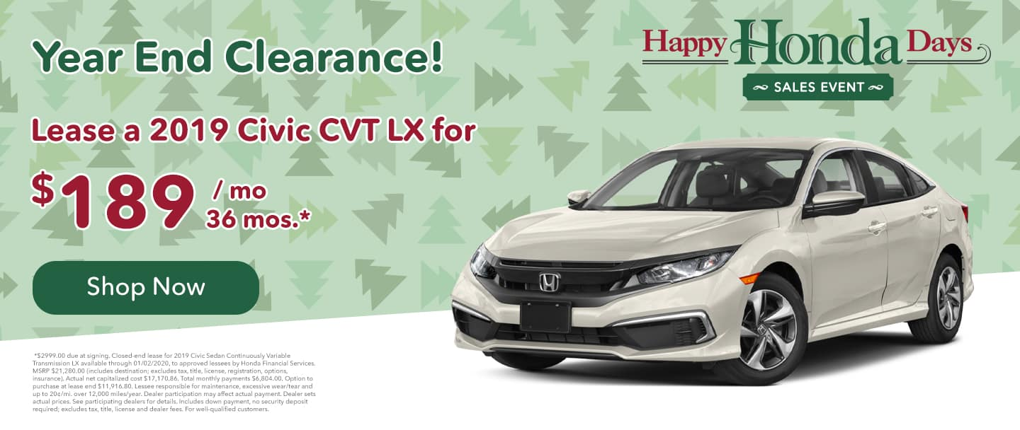 lease a civic for $189 per month for 36 mos. honda special offers