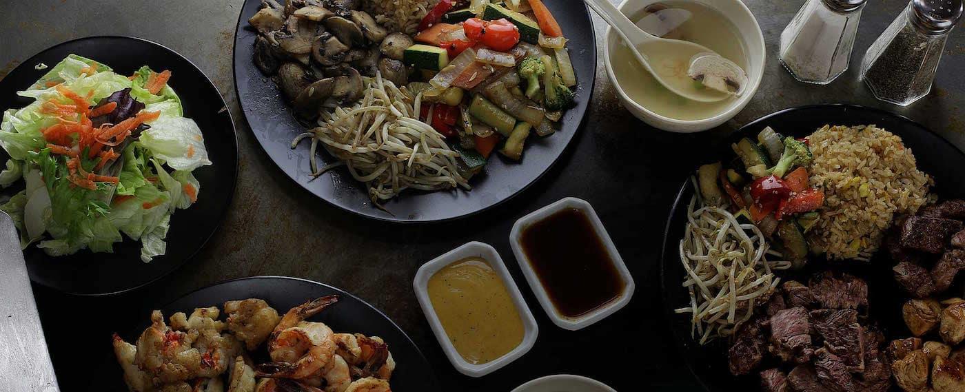 Spread of Asian foods at Sakura Steakhouse in Woodbridge, VA