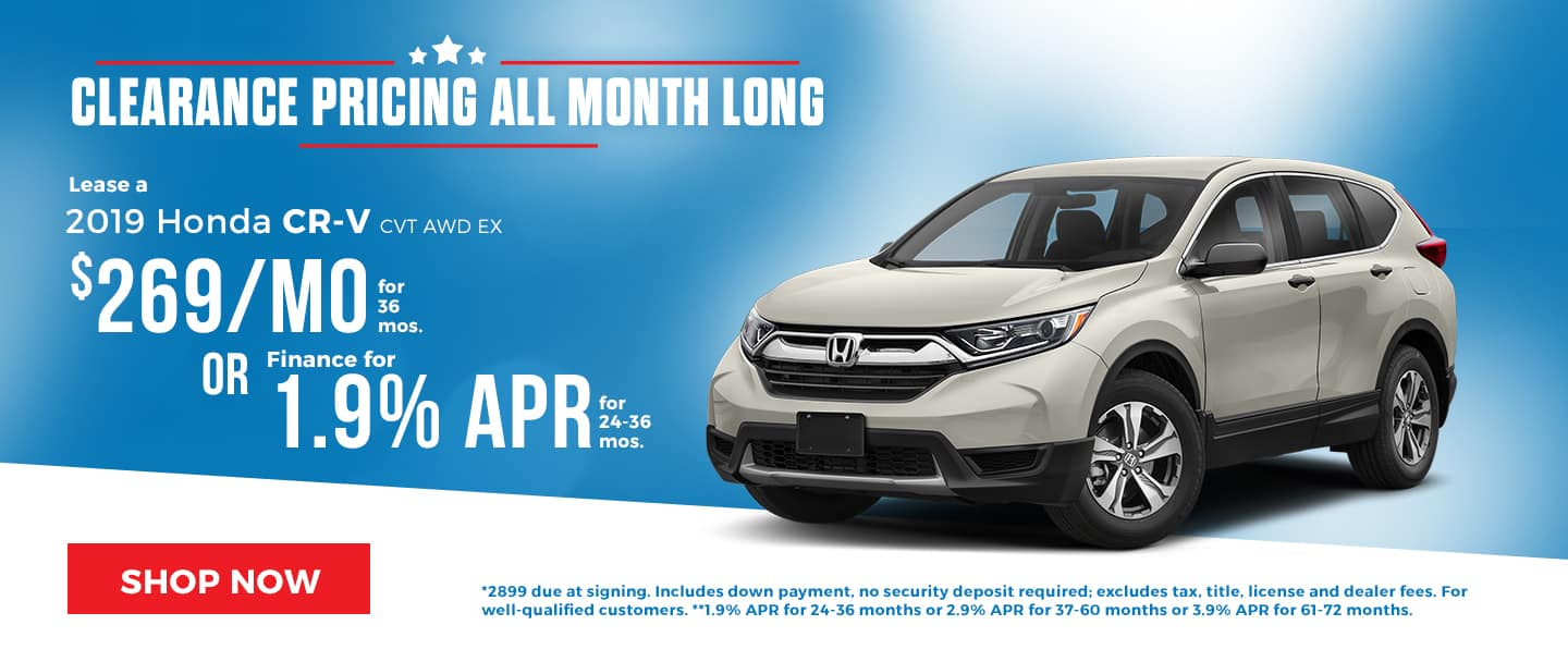 Clearance Pricing on the 2019 Honda CR-V