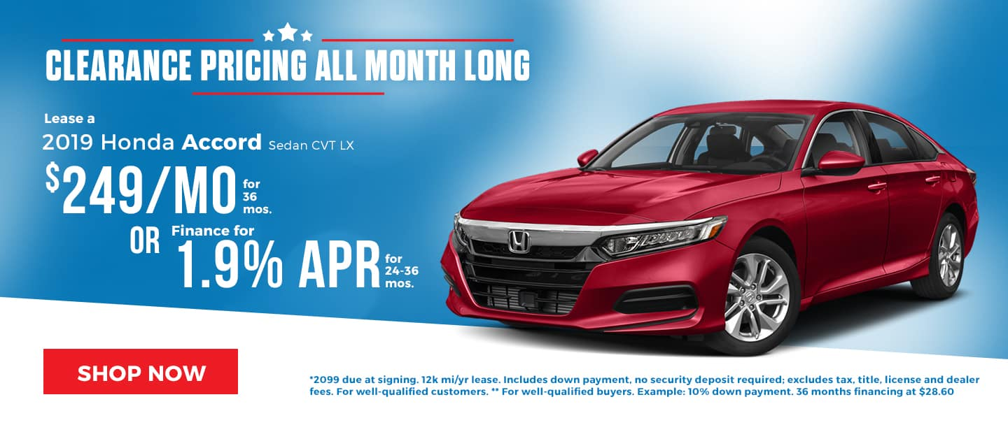 Clearance Pricing on the 2019 Honda Accord