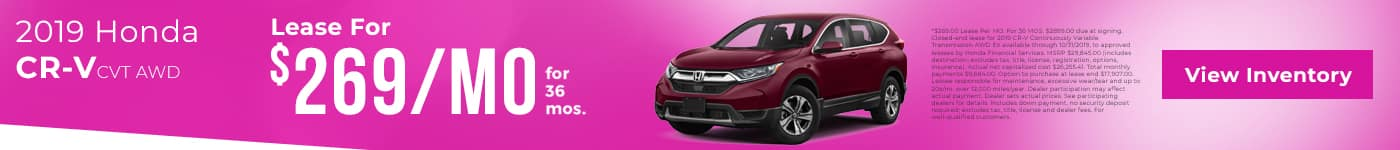 lease a cr-v for $269/mo. for 36 mos.