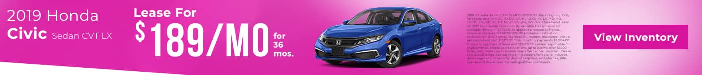 civic lease $189/mo. for 36 mos.