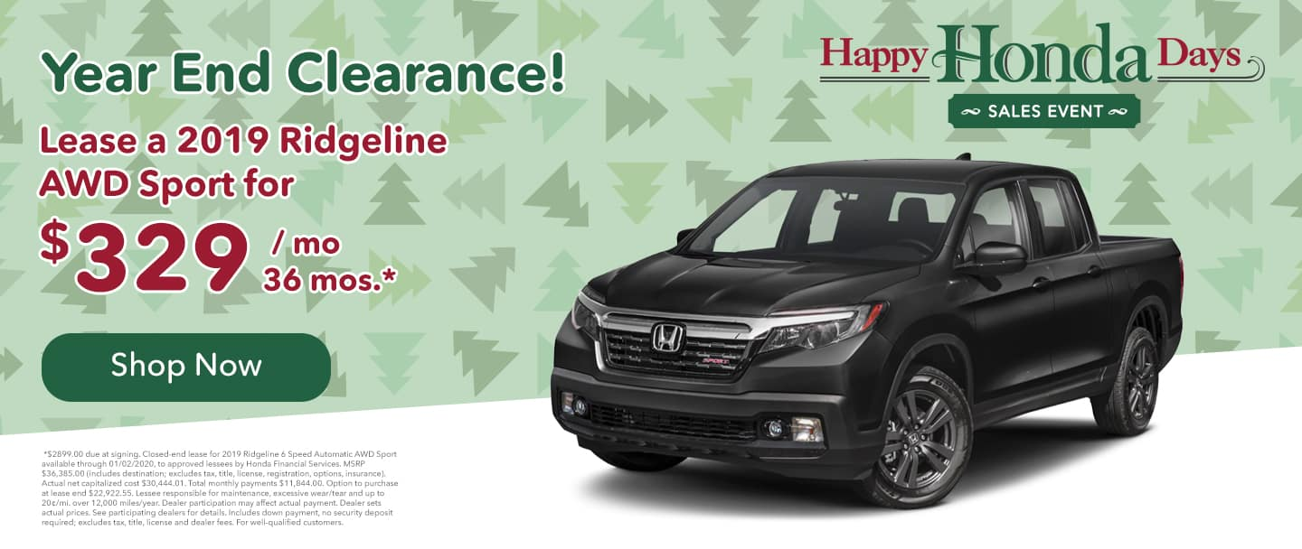 ridgeline lease for $329 per month for 36 months honda lease specials