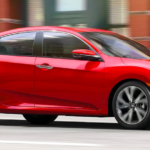 2020 honda civic red exterior driving on road
