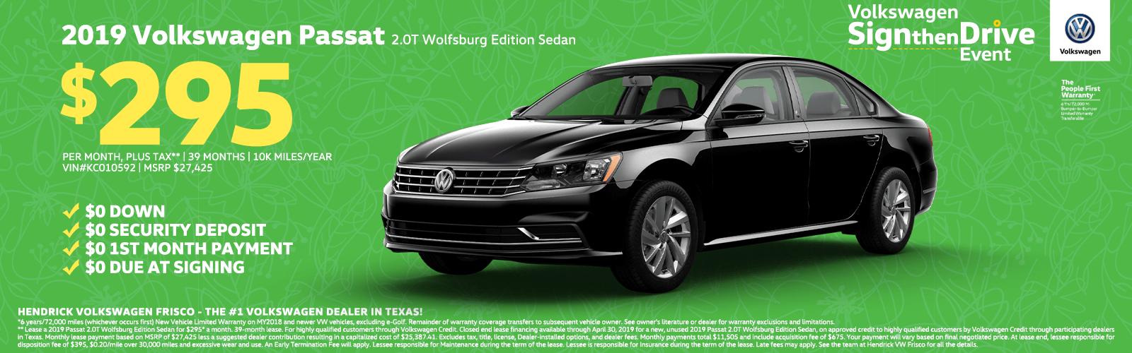 2019 Volkswagen Passat 2.0T Wolfsburg Edition Sedan $295 Homepage