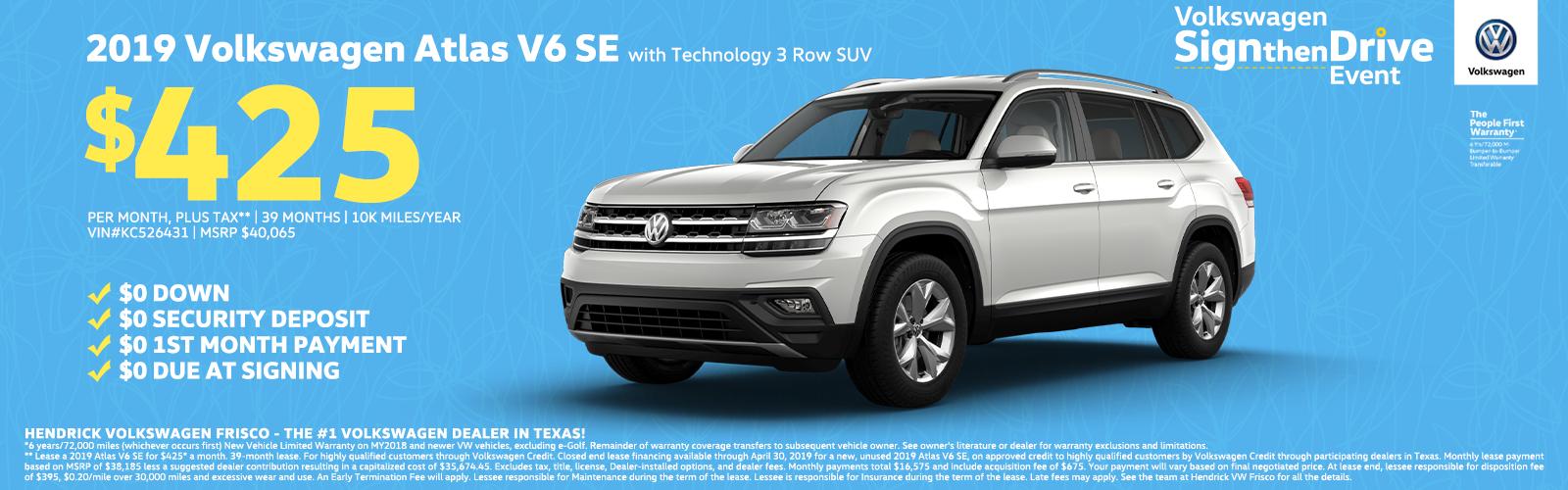 2019 Volkswagen Atlas V6 SE 3 Row SUV $425 Homepage