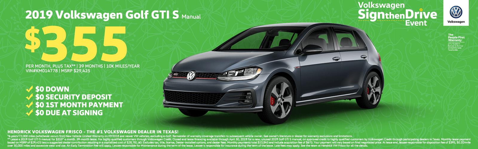 2019 Volkswagen Golf GTI S Manual $355 Homepage