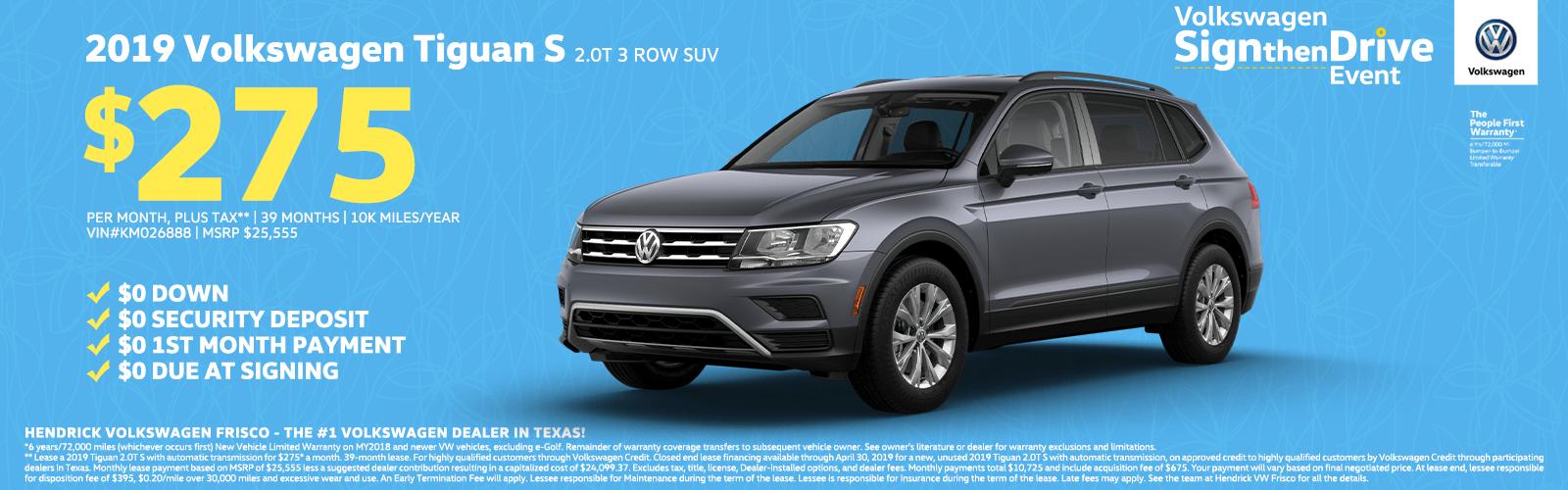 2019 Volkswagen Tiguan S 2.0T 3 Row SUV $275 Homepage