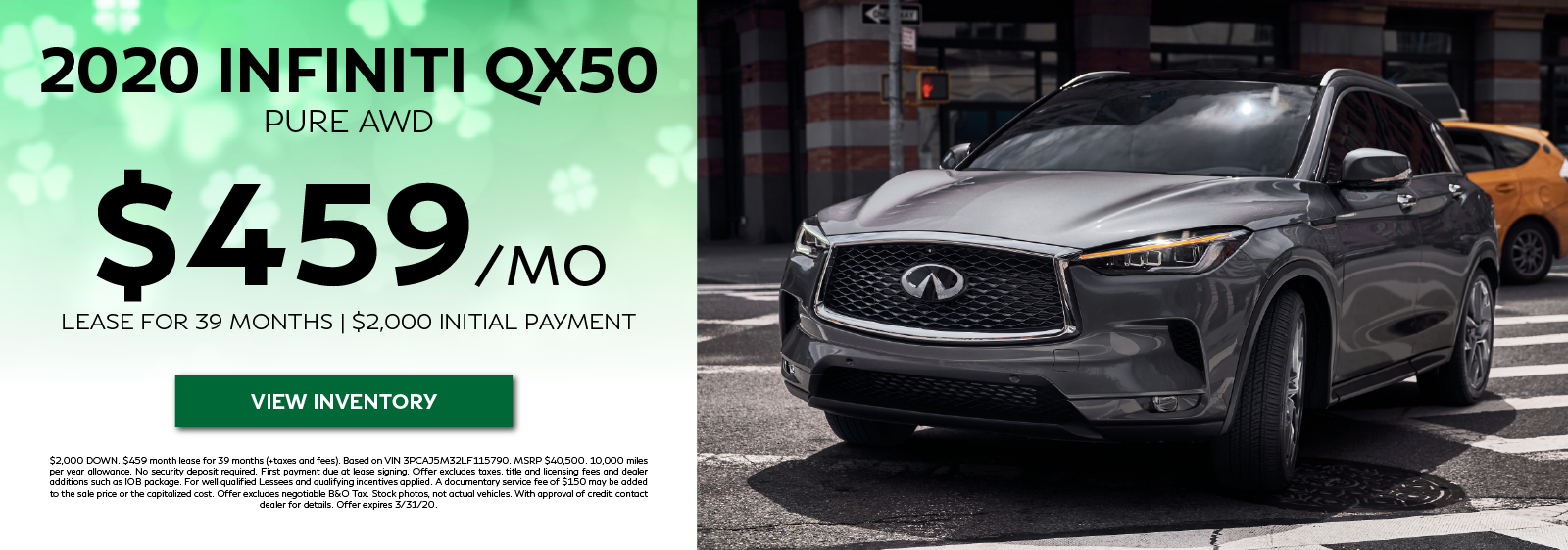 2020 QX50 LUXE - Lease for $459 per month for 39 months. View Inventory
