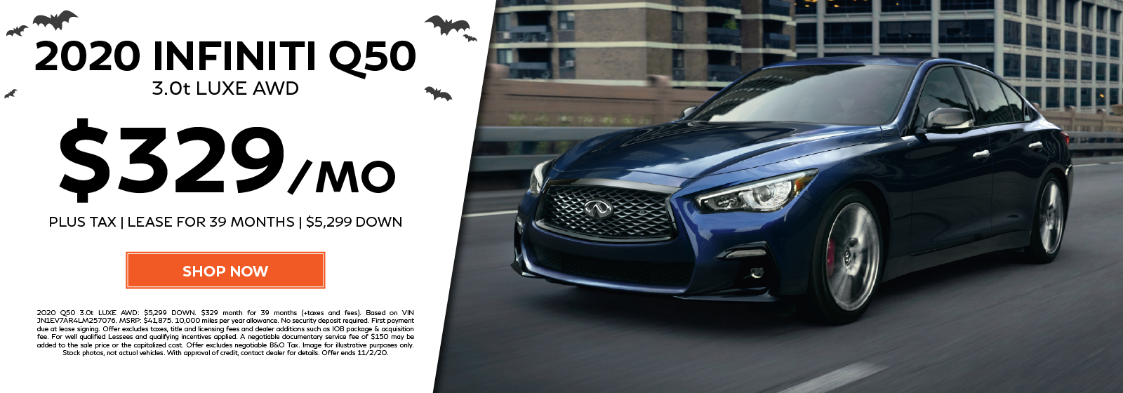 Lease a new 2020 Q50 3.0t LUXE AWD for $329 per month for 39 months. Click to shop now.