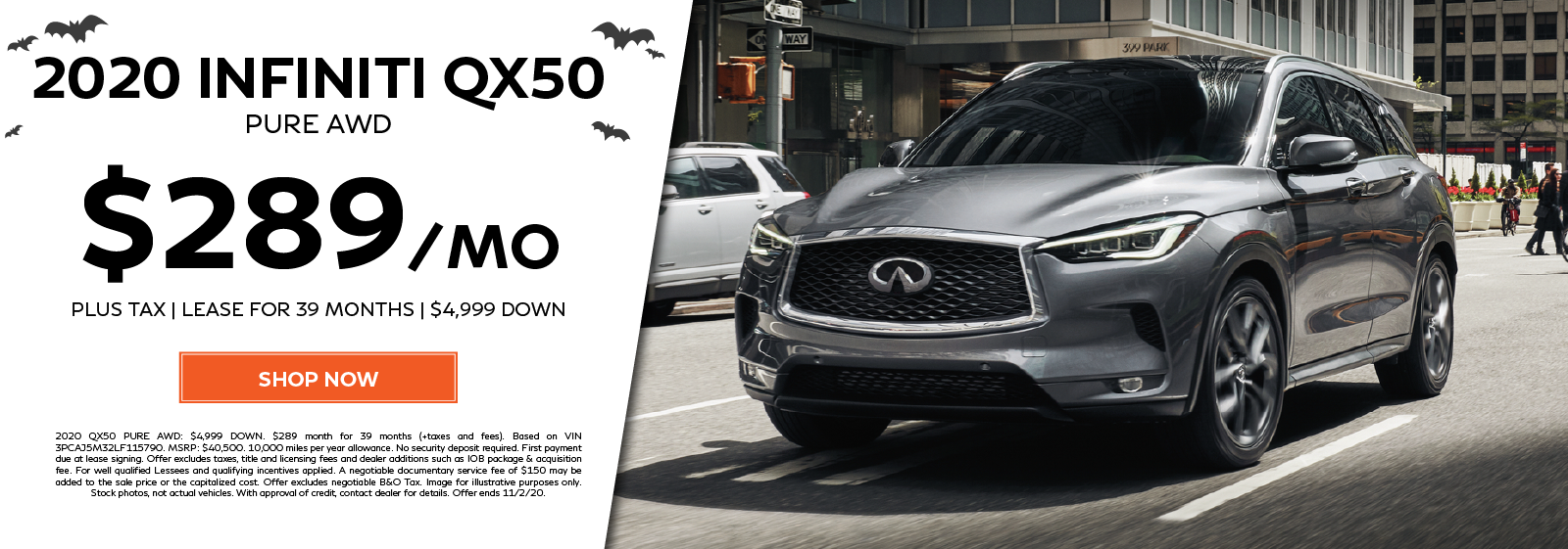 Lease a new 2020 QX50 PURE AWD for $289 per month for 39 months. Click to shop now.