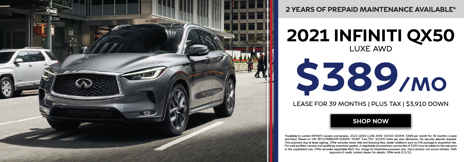 2021 INFINITI QX50 Offers. Click to shop now.