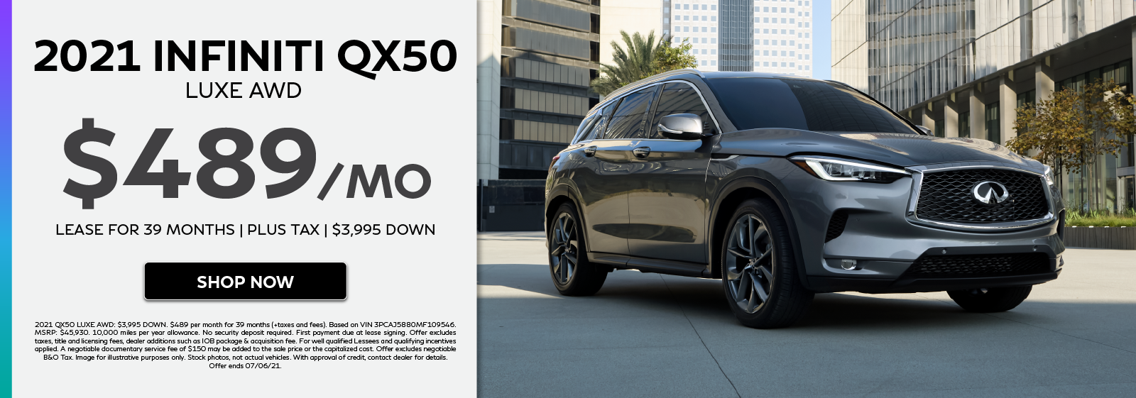 2021 INFINITI QX50 LUXE AWD lease offer. Click to shop now.