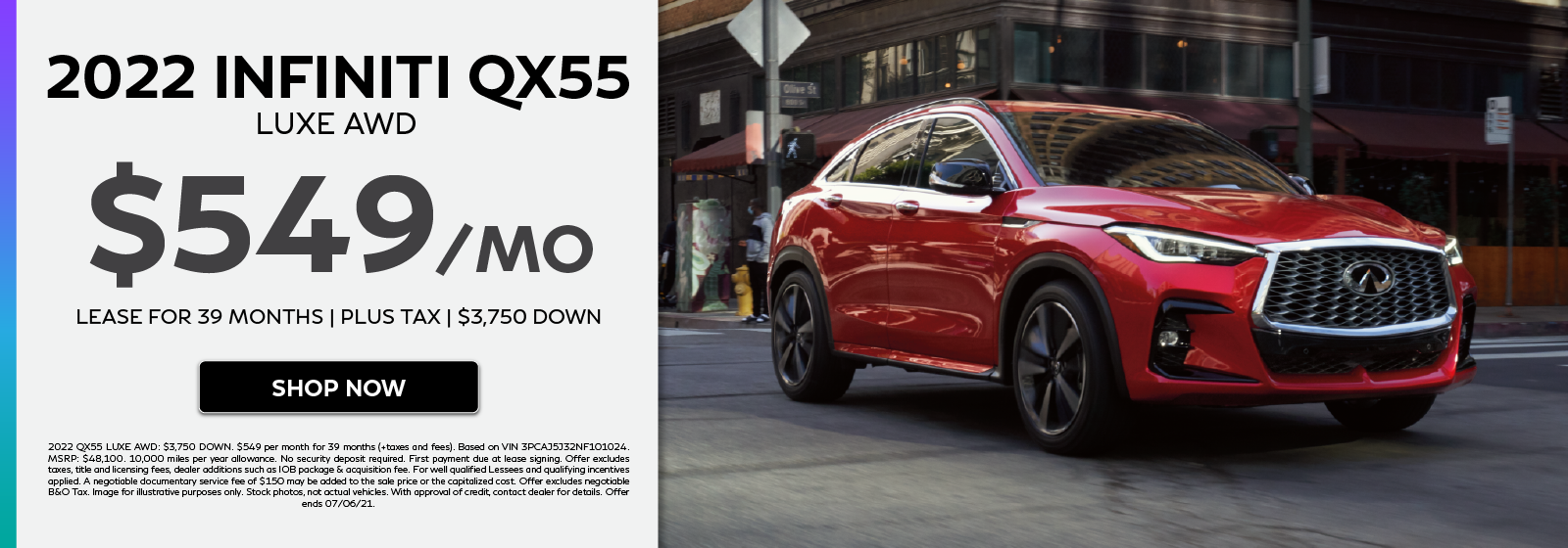 2022 INFINITI QX55 LUXE AWD lease offer. Click to shop now.