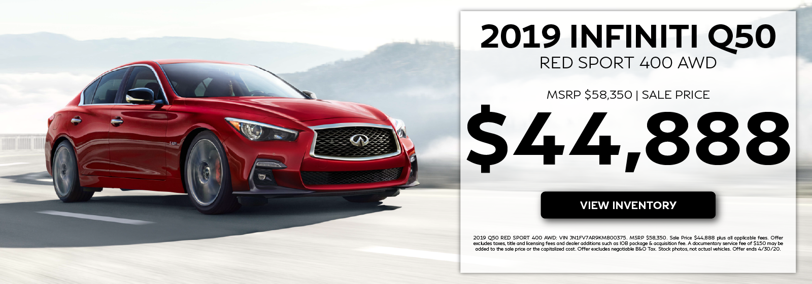 2019 Q50 Red Sport 400 - MSRP $58,350. Sale Price $44,888. Click to view inventory.