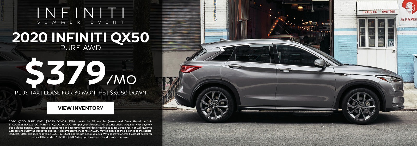 Lease a 2020 QX50 PURE AWD for $379 per month for 39 months. Click to view inventory.