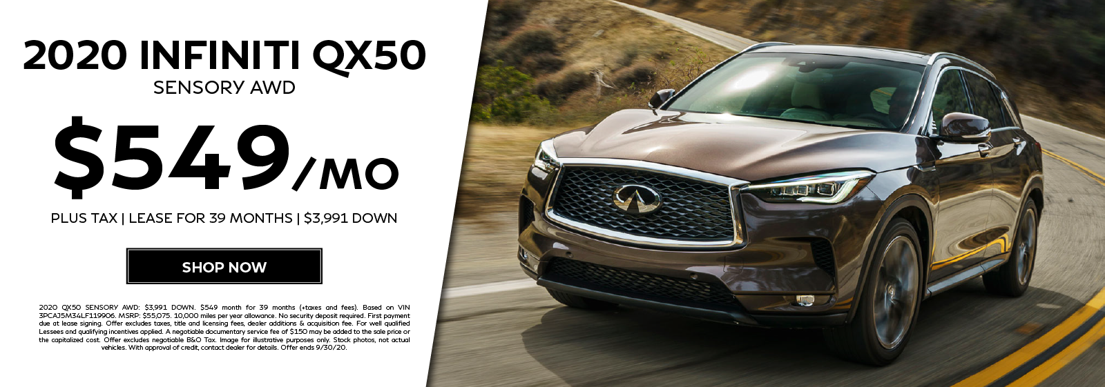 Lease a 2020 QX50 SENSORY AWD for $549 per month for 39 months. Click to shop now.