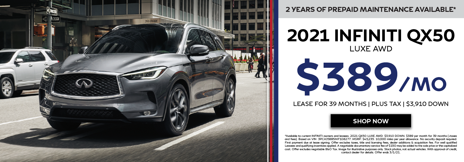2021 QX50 LUXE AWD Offers. Click to shop now.