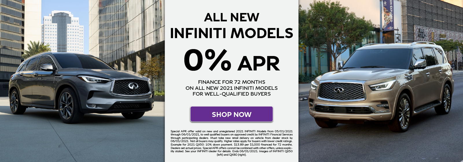 All New 2021 INFINITI Models 0% APR offer. Click to shop now.