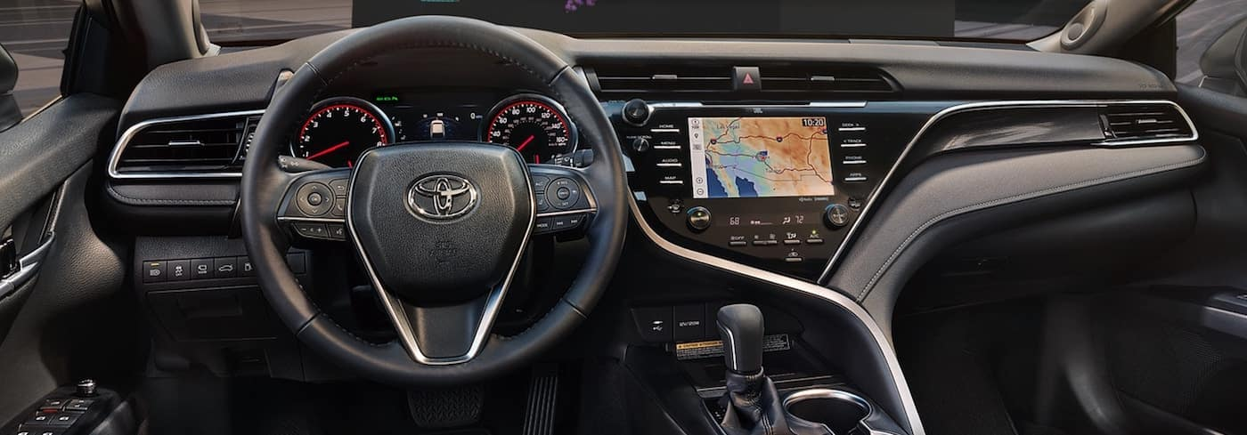 Interior cockpit view of a 2020 Toyota Camry