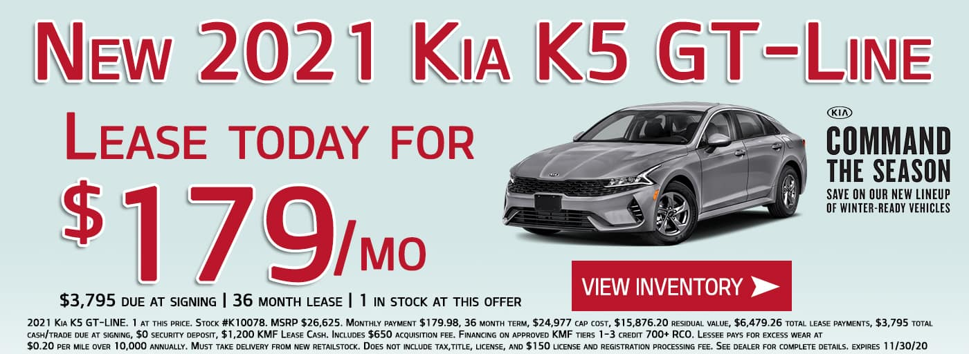 Lease the 2021 Kia K5 GT-Line for $179/month