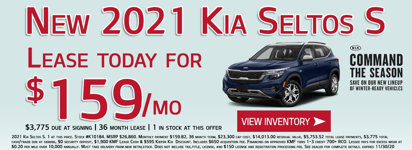 Lease a new 2021 Kia Seltos S for $159/month
