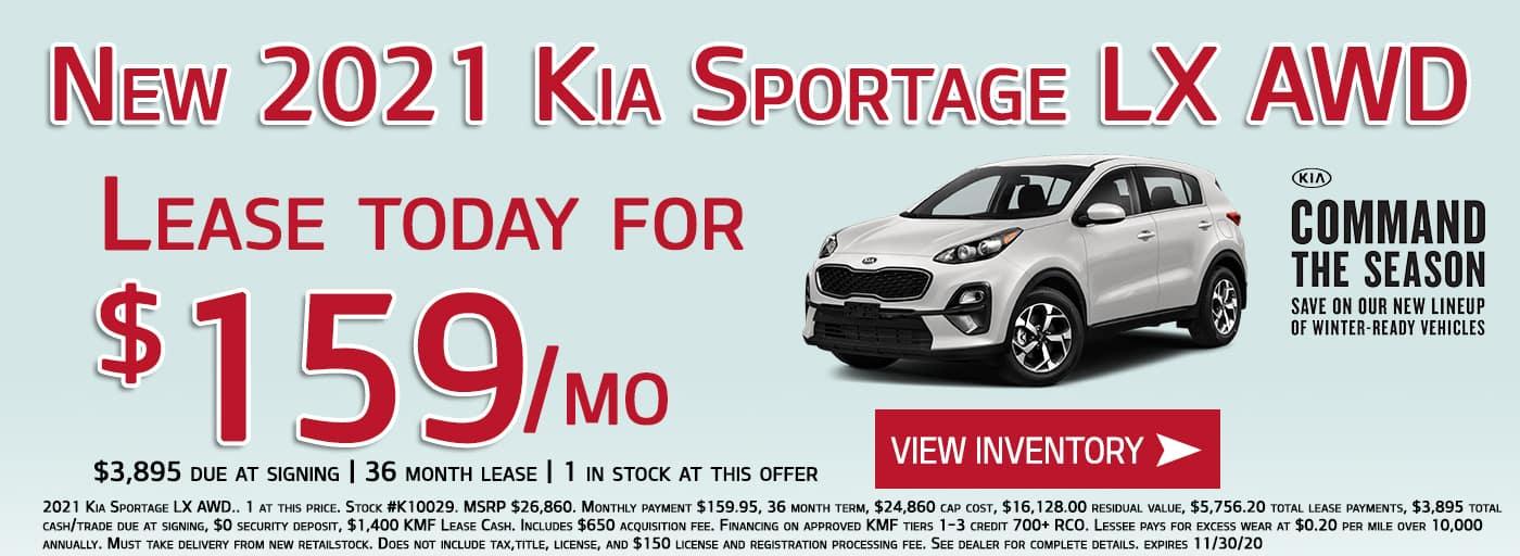 Lease a 2021 Kia Sportage LX AWD for $159/month