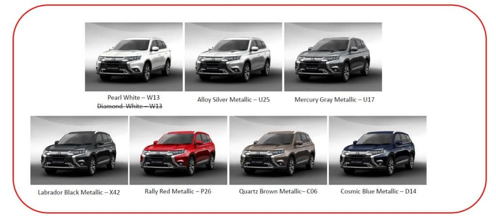 2019 Mitsubishi Outlander Colors