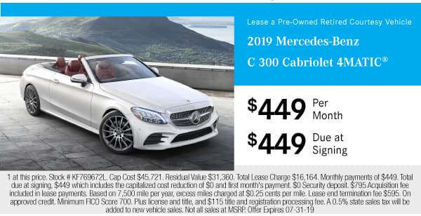 Pre-Owned 2019 Mercedes-Benz C 300 4MATIC® Cabriolet AWD