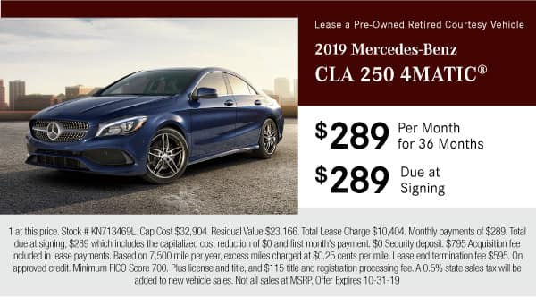 2019 Mercedes-Benz CLA 250 4MATIC® $289 per month lease for 36 months