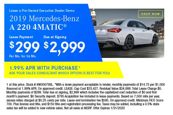 Certified Pre-Owned 2019 Mercedes-Benz A 220 4MATIC® Sedan AWD