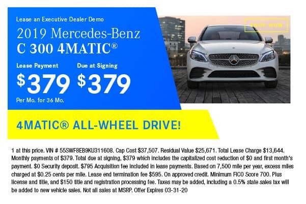 Certified Pre-Owned 2019 Mercedes-Benz C 300 4MATIC® Sedan AWD