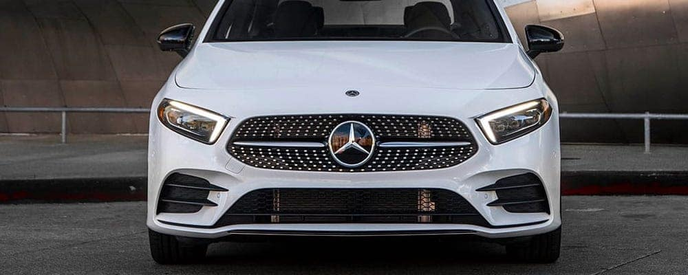 Front of a white 2019 A-Class Sedan