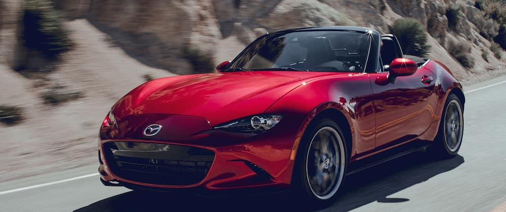 2019 Mazda MX-5 Miata Driving Fast on a Highway