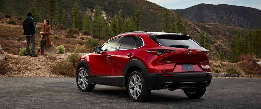 A 2020 Mazda CX-30 parked in front of a mountain
