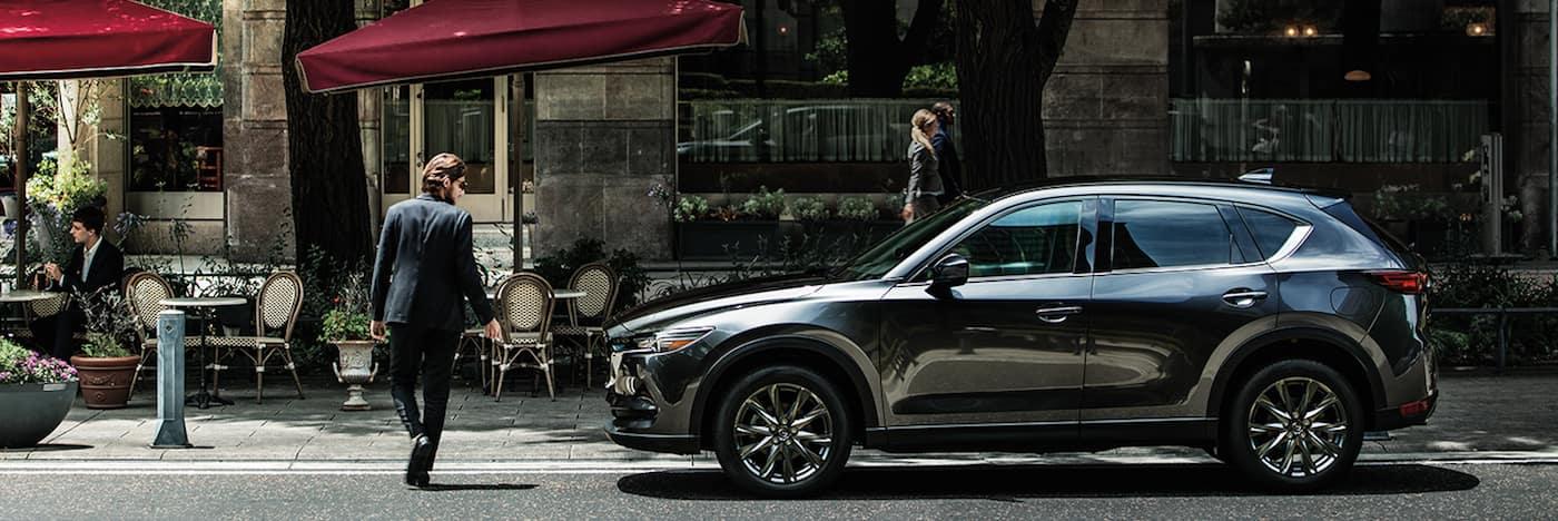 A 2020 Mazda CX-5 parked on a city street