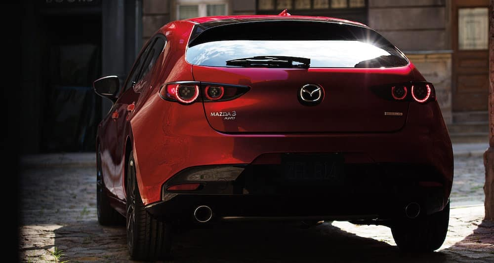Rear view of a 2020 Mazda 3 Hatchback