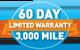 60 Day 3,000 Mile Warranty