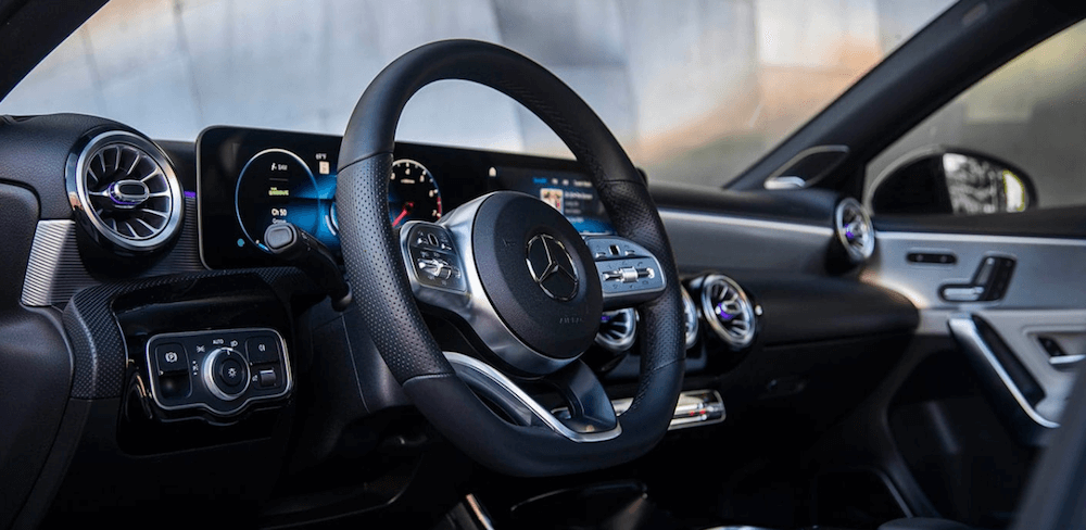 2020 Mercedes-Benz A-Class interior dashboard and steering wheel
